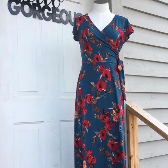 a887d37c6d5 Gilli Teal Floral Maxi Dress